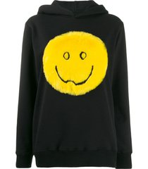 kirin faux fur smile hoodie - black
