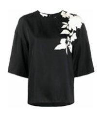 vince camiseta bicolor com estampa floral - preto