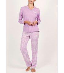 pyjama's / nachthemden admas binnenshuis te dragen pyjamatop en broek indoniesia paars