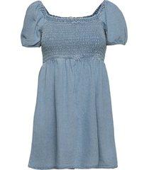 ae denim tie-sleeve smocked mini dress kort klänning blå american eagle