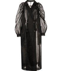 uma wang tulle semi-sheer coat - black
