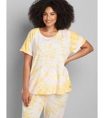 lane bryant women's livi short-sleeve tie-dye sweatshirt 14/16 artisan's gold