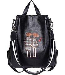 mochilas/ mochila de cuero de la pu de alta calidad-negro