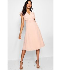 chiffon ruffle skater wrap bridesmaid dress, nude