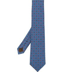 church's embroidered floral silk tie - blue