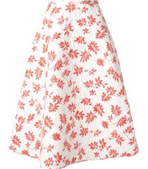 lee mathews lulu floral quilted skirt - white