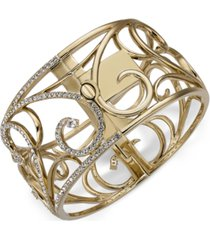 eliot danori gold-tone pave openwork bangle bracelet, created for macy's