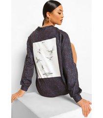 oversized acid wash gebleekte sweatshirt jurk met rugopdruk, charcoal