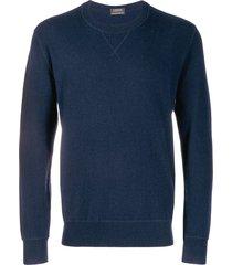 z zegna stitched crew sweatshirt - blue