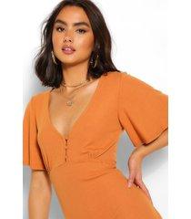 angel sleeve button detail mini dress, mustard
