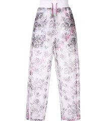 off-white semi-sheer rose motif trousers