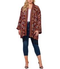 jessica simpson plus size printed open-front kimono