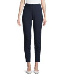 st. john women's stretch knit cropped pants - caviar - size m