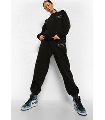 oversized zwaar ath-leisure trainingspak met sweater, black