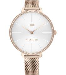 tommy hilfiger women's rose gold-tone stainless steel mesh bracelet watch 38mm