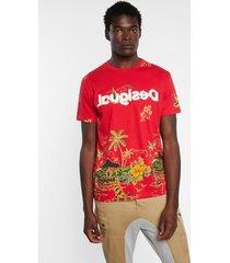basic t-shirt tropical - red - xxl