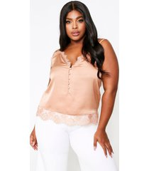 lace trim button front satin cami top, taupe