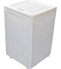 cesto roupa suja roupeiro fibra sintetica junco branco 35x35x57 - branco - feminino - dafiti