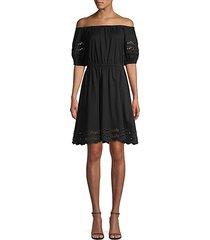scallop border knit off-the-shoulder a-line dress