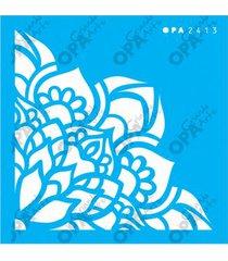 stencil opa 10x10 cantoneira flores lotus 2413