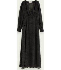 scotch & soda maxi-jurk met slangenmotief en overslag
