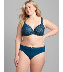 lane bryant women's cotton lightly lined full coverage bra with lace 42ddd poseidon blue