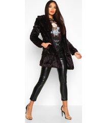 boutique rever collar faux fur coat, black