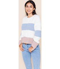 women's brigette color block sweater in ivory by francesca's - size: l