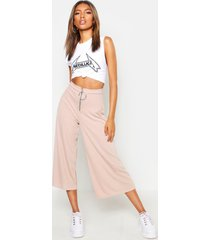 o ring ribbed slouchy culottes, sand
