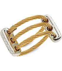 18k white gold & yellow stainless steel, 0.12 tcw diamond cable ring