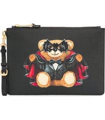 moschino bat teddy print clutch bag - black