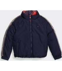 tommy hilfiger girl's adaptive seated fit puffer jacket evening blue - l