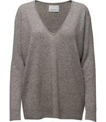 boston v-neck 6304 stickad tröja grå samsøe samsøe