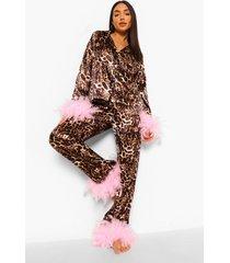 premium luipaardprint pyjama met veren, brown