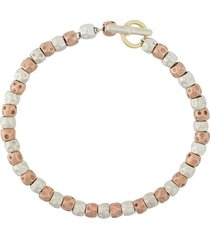 dodo 9kt rose gold and silver bead granelli bracelet - pink