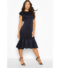 frill fishtail midi dress, navy