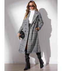 yoins abrigo de manga larga con cuello de solapa a cuadros negros