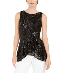 adrianna papell sequined peplum top