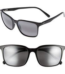 maui jim wild coast 56mm polarized sunglasses in midnight black/neutral grey at nordstrom