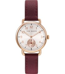 women's ted baker london hannahh sub-eye leather strap watch, 34mm