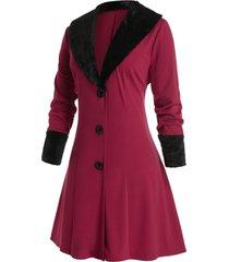plus size faux fur shawl collar a line long coat