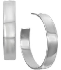 "alfani silver-tone medium wide open hoop earrings, 1.3"", created for macy's"