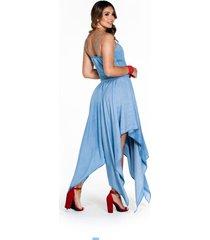 vestido largo en tencel con picos