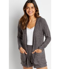 maurices womens gray hooded lounge cardigan