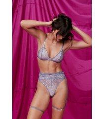 womens lace-up 3-pc lingerie set with low-rise - dusty blue