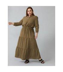 amaro feminino chemise longo três camadas, verde militar