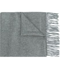 alexander mcqueen logo embroidered scarf - grey