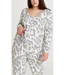 river island womens plus cream leopard print long sleeve top