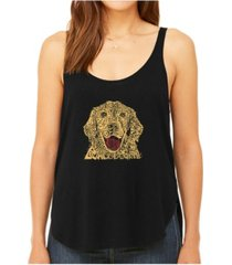 la pop art women's premium word art flowy tank top- dog