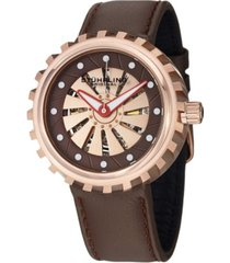 stuhrling stainless steel rose tone case on brown genuine leather strap, brown dial with rotating rose tone disk, with white and red accents